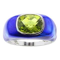 Blue Enamel and Peridot Ring, White Gold