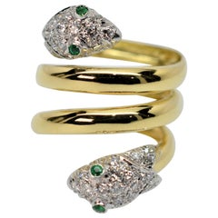 18 Karat Yellow Gold Antique Serpent Ring w Diamond Emerald Accents