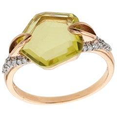 Faceted Lemon Topaz and Diamond Ring, Rose Gold