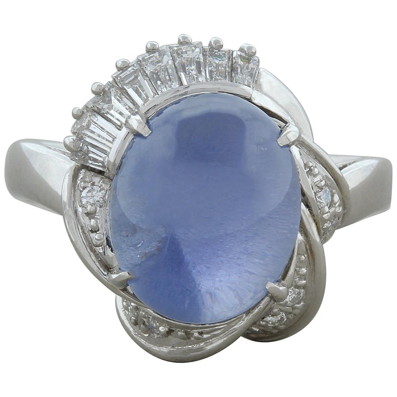 Midcentury Star Sapphire Diamond Platinum Ring