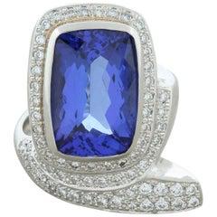 Tanzanite Diamond Platinum Serpentine Ring