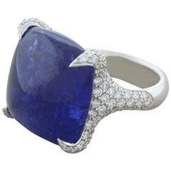 Sugarloaf Tanzanite Diamond Gold Ring