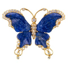 Lapis Lazuli Diamond Gold Butterfly Brooch
