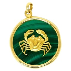 Van Cleef & Arpels Astrological Zodiac Cancer Malachite 18k Yellow Gold Pendant