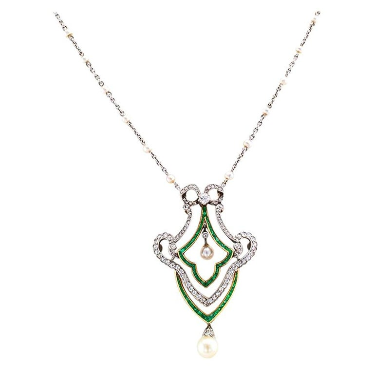 Edwardian Diamond Emerald Pearl Gold Platinum Brooch Necklace For Sale