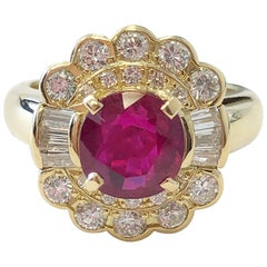 Ruby Round and White Diamond Cocktail Ring in 18 Karat Yellow Gold
