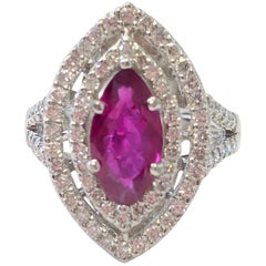 Ruby Marquise and White Diamond Round Cocktail Ring in Platinum