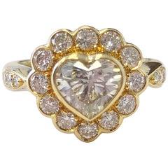 White Diamond Heart Shape Engagement Ring in 18 Karat Yellow Gold
