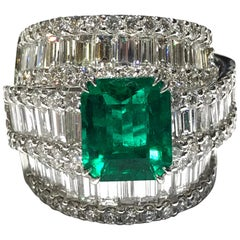 Crivelli Colombian Emerald and Diamond Ring Set in 18 Karat White Gold