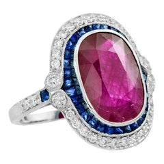 Natural 6.10 Carat Burmese Ruby and Blue Sapphire Diamond Cocktail Ring