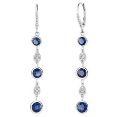 Large Round Sapphire Bezel Set Diamond Hoop Drop Earrings Weighing 5.75 Carat