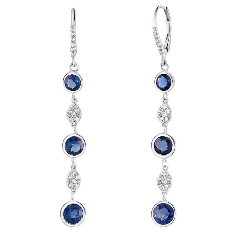 Large Round Sapphire Bezel Set Diamond Hoop Drop Earrings Weighing 5.75 Carat  For Sale