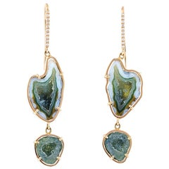 Karolin Yana Earrings Agate Diamonds Hook Stud Rose Gold