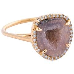 Karolin Rose Gold Pink Agate Geode White Pave Diamond Cocktail Ring