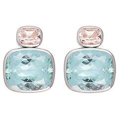 Precious Basics Earrings with 2 Morganites 4.25 Carat and 2 Beryls 47.81 Carat