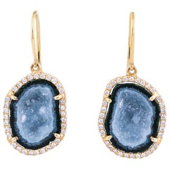 Karolin Blue Agate Geode Stud Pave Diamond Rose Gold Earrings