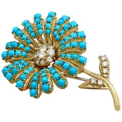 6.66 Carat Turquoise and 1.48 Carat Diamond Yellow Gold Flower Brooch