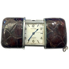 1950s Silver Movado 'Ermeto' Travelling Watch in Sliding Brown Crocodile Case