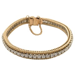 3.50 Carat Diamond Rope Style 14 Karat Yellow Gold Tennis Bracelet