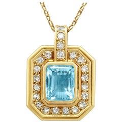 2.49 Carat Aquamarine Diamond Yellow Gold Pendant, circa 1950
