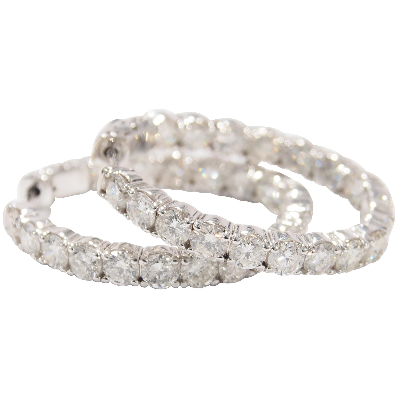 14 Karat Diamond Hoop Earrings White Gold