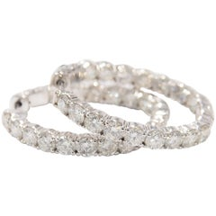14 Karat Diamond Hoop Earrings White Gold