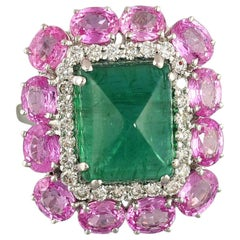 Set in 18K gold, Sugarloaf Emerald, Pink Sapphire and Diamonds Cocktail Ring