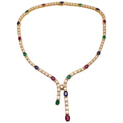 18KT Gold, 4.97ct. Diamond & Oval Sapphire, Ruby, Emerald Lariat Style Necklace