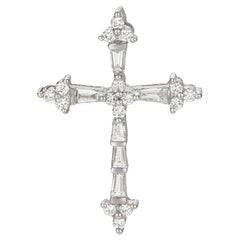 Baguette and Round Cut Diamond White Gold Cross Pendant