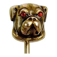 14 Karat Yellow Gold Bull Dog Stick Pin with Cabochon Ruby Eyes