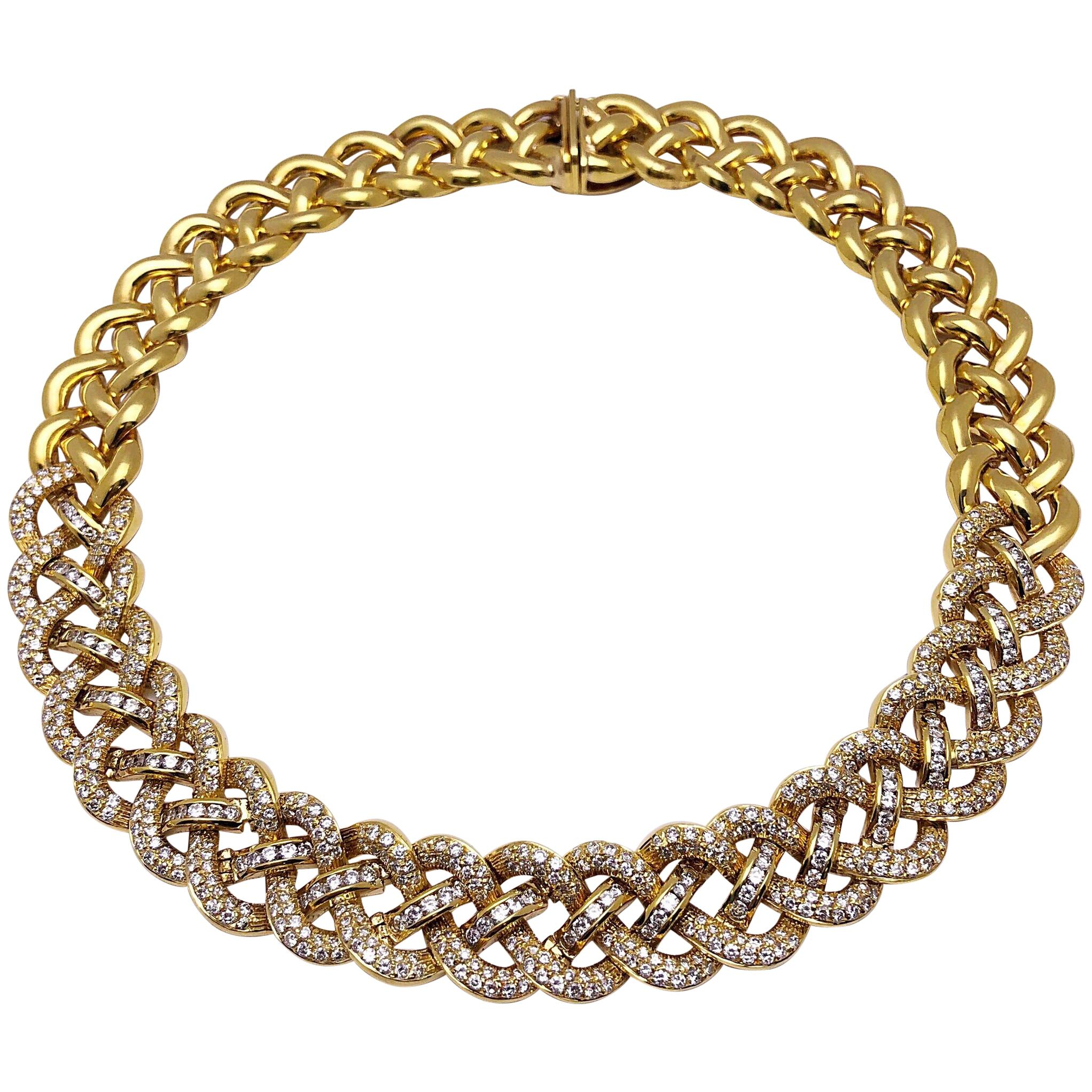 Diamond Yellow Gold Braided Collar Necklace