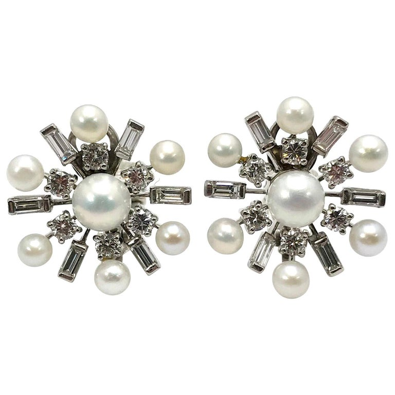 1950s Tiffany & Co. Diamond and Cultured Pearl White Gold Clip Back Earrings For Sale