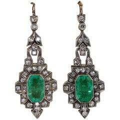 Magnificent 7.20 Carat Colombian Emerald 2.60 Carat Diamond Rare Drop Earrings