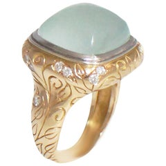SeidenGang 18 Karat Green Gold Ornately Carved Chalcedony and Diamond Ring