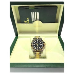 Rolex 18 Karat and Stainless Steel GMT Master II with Black Ceramic Bezel