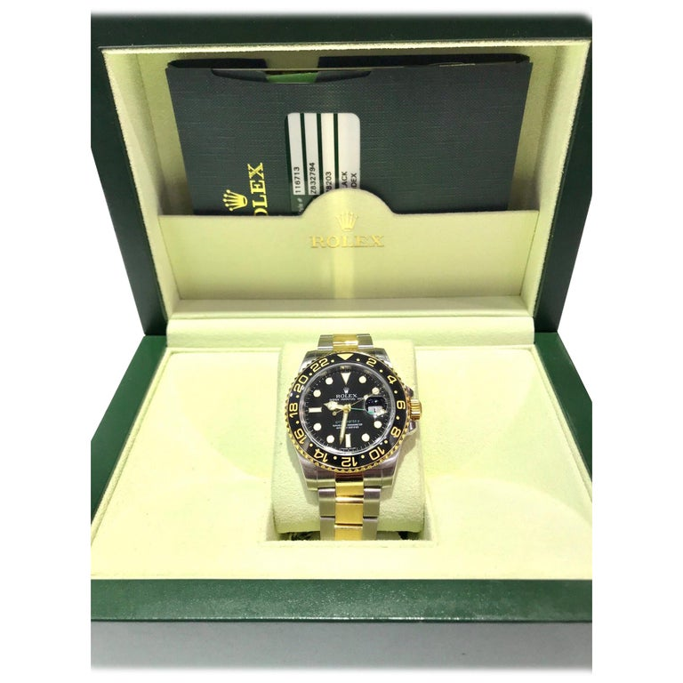 Rolex 18 Karat and Stainless Steel GMT Master II with Black Ceramic Bezel For Sale