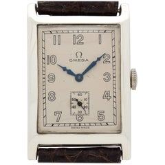 Vintage Omega Rectangular-Shaped Silver Watch, 1929