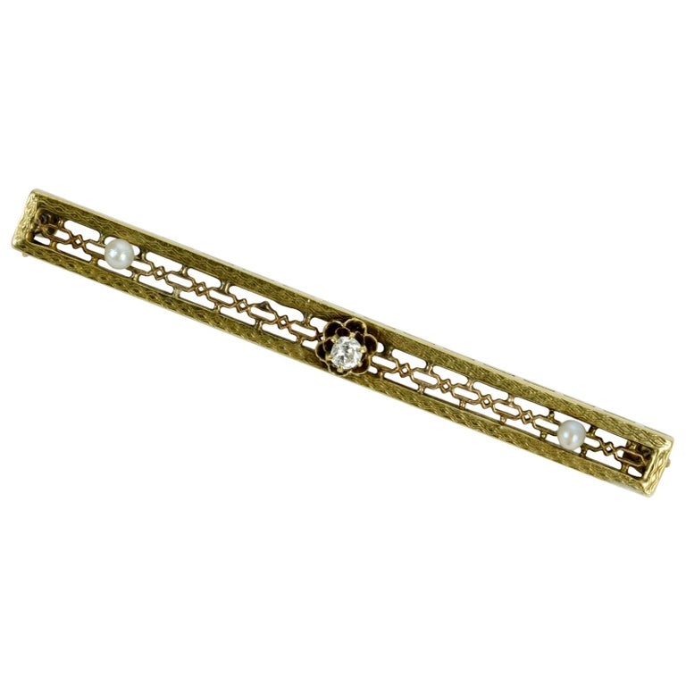 Vintage 10 Karat Yellow Gold, Diamond and Seed Pearl Bar Pin or Brooch For Sale