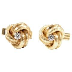 14 Karat Diamond Knot Cufflinks Yellow Gold 0.24 Carat