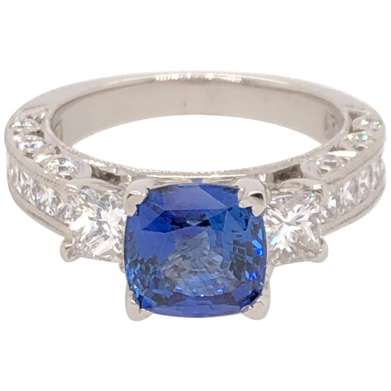 Platinum Cushion Cut Sapphire and Diamond Ring For Sale