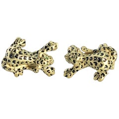Vintage Unisex Cufflinks of Tigers Made In Italy  In 18k Gold With Emerald Eyes