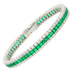 6.64 Carat Colombian Emerald and Diamond Bracelet