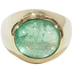 18 Karat Cabochon Emerald Ring Dome Yellow Gold