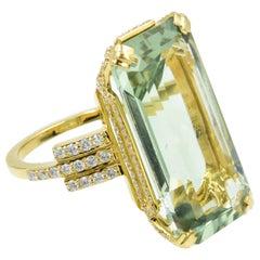 Ivanka Trump Empire Prasiolite and Diamond 18 Karat Yellow Gold Ring