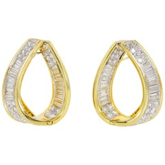 3.70 Carat Diamond Gold Hoops