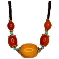 Antique Amber Bead, Turquoise and Gold Necklace