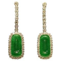 Edwardian Style Natural Jade Jadeite Diamond Drop Earrings