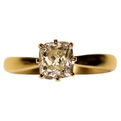 Antique Old Mine Cut Diamond on a Gold Solitaire Ring