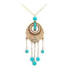 French Victorian Turquoise Pearl Gold Pendant Necklace