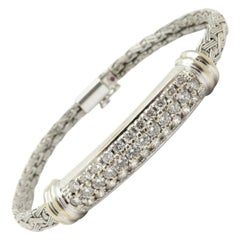 Designer Roberto Coin 1.00 Carat 18 Karat White Gold Weave Bracelet